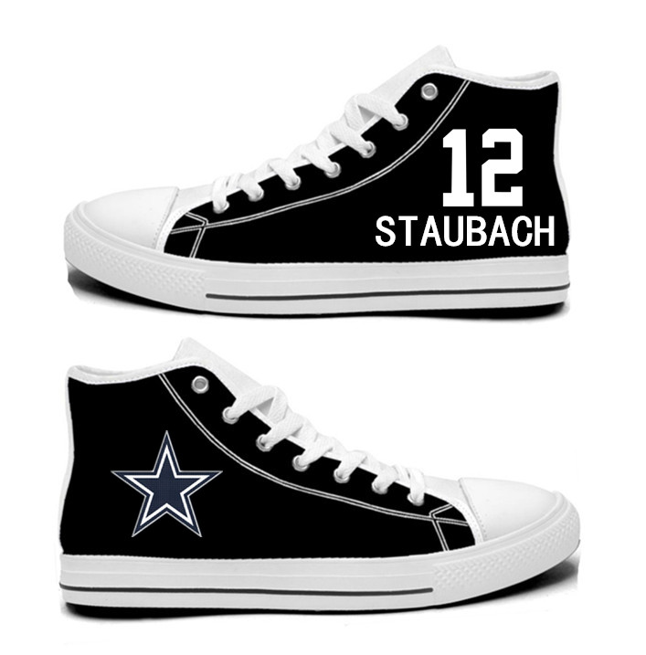 NFL Dallas Cowboys 12# Roger Staubach black Hand Painted Unisex Custom Centre-TOP Canvas Shoes