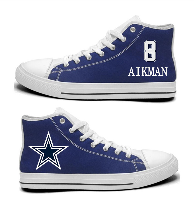 NFL Dallas Cowboys 8#  Troy Aikman   Blue Hand Painted Unisex Custom Centre-TOP Canvas Shoes