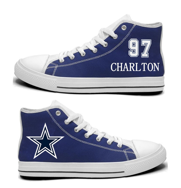 NFL Dallas Cowboys 97# Taco Charlton  Blue Hand Painted Unisex Custom Centre-TOP Canvas Shoes