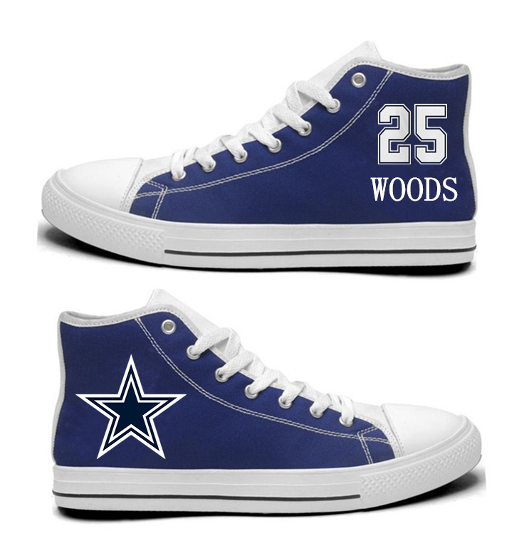 NFL Dallas Cowboys 25#  Xavier Woods  Blue Hand Painted Unisex Custom Centre-TOP Canvas Shoes