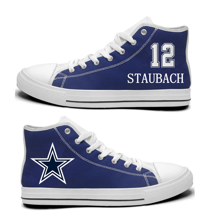 NFL Dallas Cowboys 12# Roger Staubach Blue Hand Painted Unisex Custom Centre-TOP Canvas Shoes