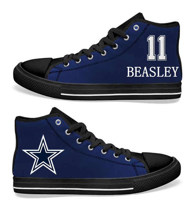 NFL Dallas Cowboys 11# Cole Beasley navy Blue Hand Painted Unisex Custom Centre-TOP Canvas Shoes
