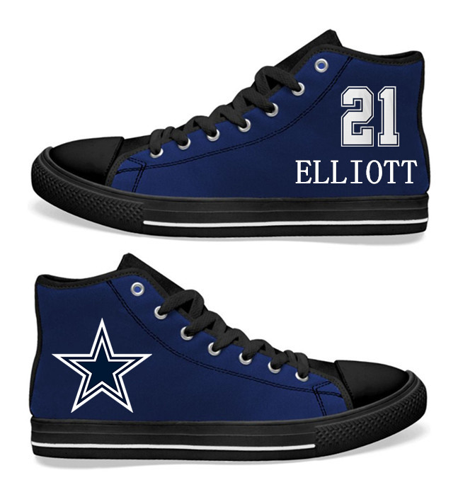 NFL Dallas Cowboys #21 Ezekiel Elliott black of Blue Hand Painted Unisex Custom Centre-TOP Canvas Shoes