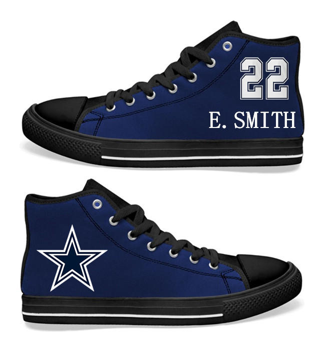 NFL Dallas Cowboys 22# Emmitt Smith black of Blue Hand Painted Unisex Custom Centre-TOP Canvas Shoes