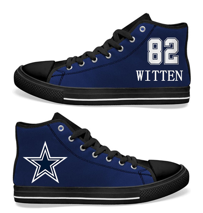NFL Dallas Cowboys 82# Jason Witten black of Blue Hand Painted Unisex Custom Centre-TOP Canvas Shoes