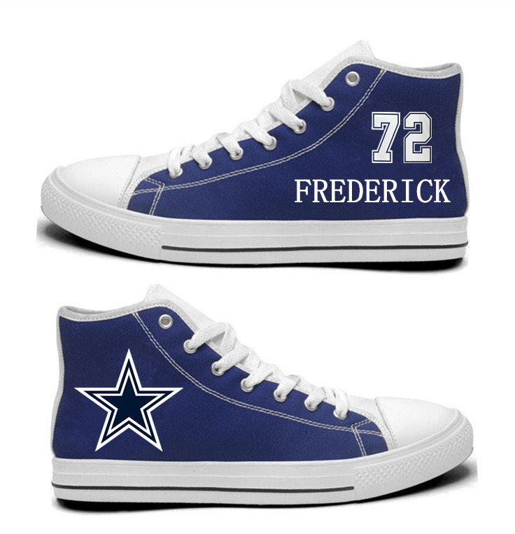 NFL Dallas Cowboys 72# Travis Frederick Blue Hand Painted Unisex Custom Centre-TOP Canvas Shoes