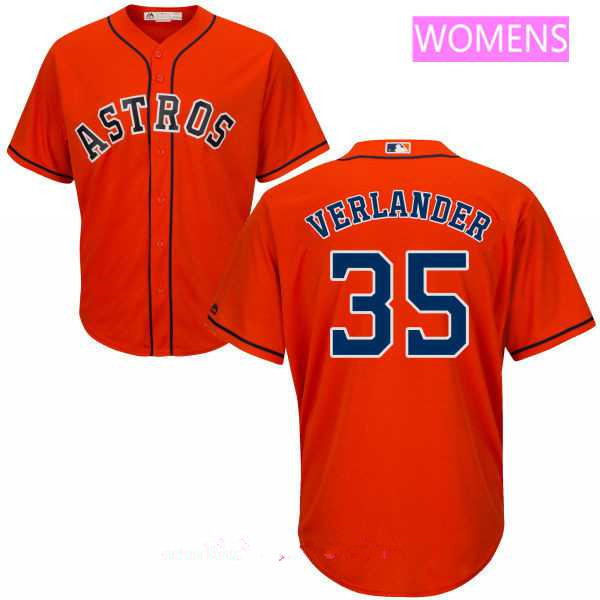 Women's Houston Astros #35 Justin Verlander Orange MLB Majestic Cool Base Stitched Jersey