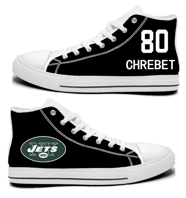 NFL New York Jets 80# Wayne Chrebet Mitchell  black  Hand Painted Unisex Custom Centre-TOP Canvas Shoes
