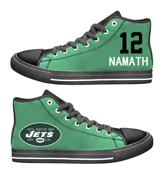 NFL New York Jets 12#  Namath Mitchell black Green  Hand Painted Unisex Custom Centre-TOP Canvas Shoes