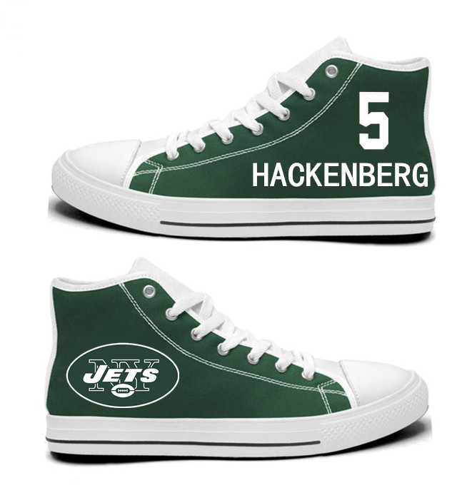 NFL New York Jets 5# Christian Hackenberg  Green  Hand Painted Unisex Custom Centre-TOP Canvas Shoes