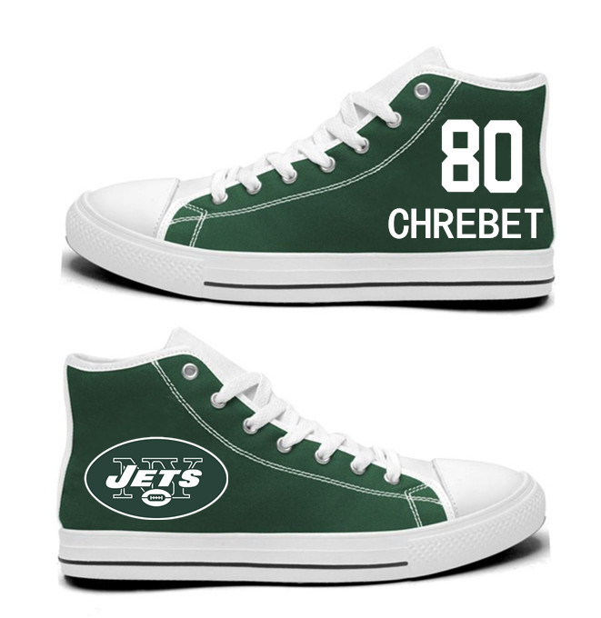 NFL New York Jets 80# Wayne Chrebet Mitchell  Green  Hand Painted Unisex Custom Centre-TOP Canvas Shoes