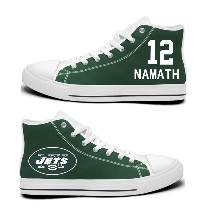 NFL New York Jets 12#  Namath Mitchell  Green  Hand Painted Unisex Custom Centre-TOP Canvas Shoes