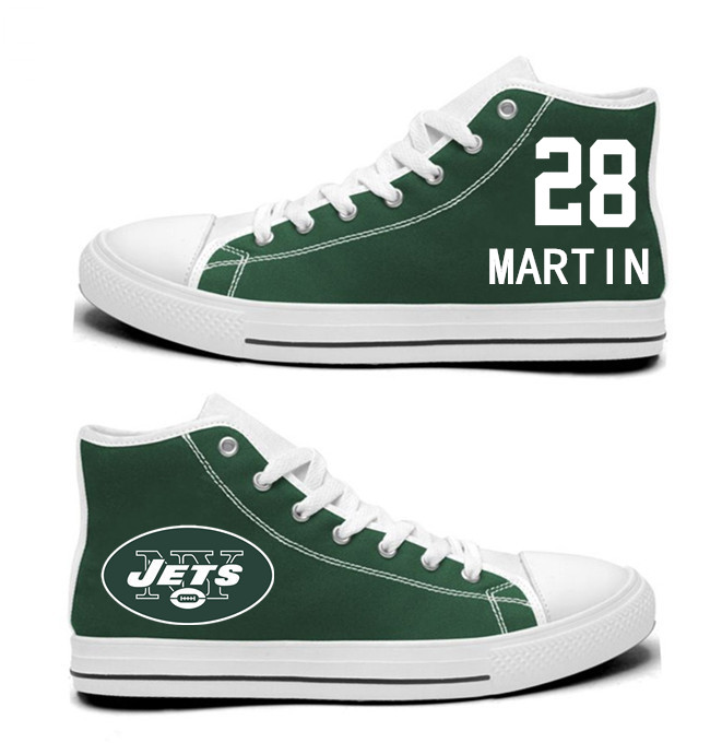 NFL New York Jets 28# Curtis Martin Green  Hand Painted Unisex Custom Centre-TOP Canvas Shoes