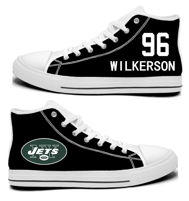 NFL New York Jets 96#  Muhammad Wilkerson  black  Hand Painted Unisex Custom Centre-TOP Canvas Shoes