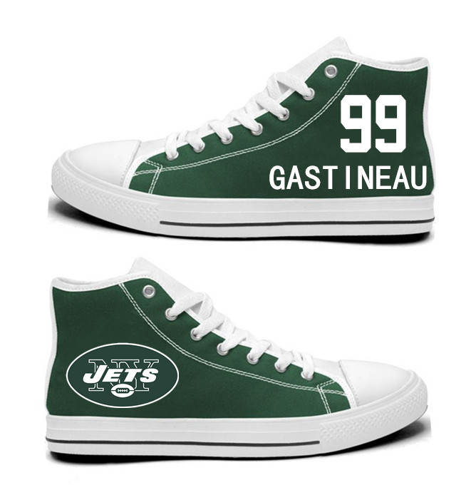 NFL New York Jets 99#  Mark Gastineau  Green  Hand Painted Unisex Custom Centre-TOP Canvas Shoes
