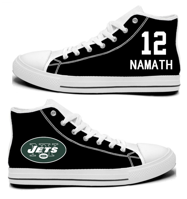 NFL New York Jets 12#  Namath Mitchell  black  Hand Painted Unisex Custom Centre-TOP Canvas Shoes