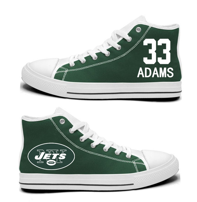 NFL New York Jets 33#  Jamal Adams Green  Hand Painted Unisex Custom Centre-TOP Canvas Shoes