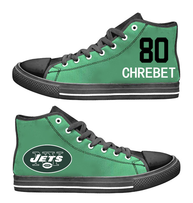 NFL New York Jets 80# Wayne Chrebet   Green  Hand Painted Unisex Custom Centre-TOP Canvas Shoes