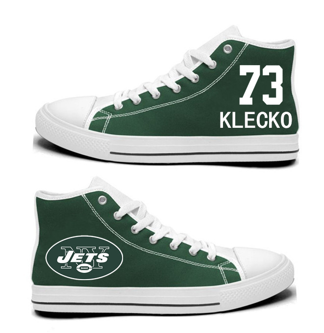 NFL New York Jets 73#  Joe Klecko  Green  Hand Painted Unisex Custom Centre-TOP Canvas Shoes