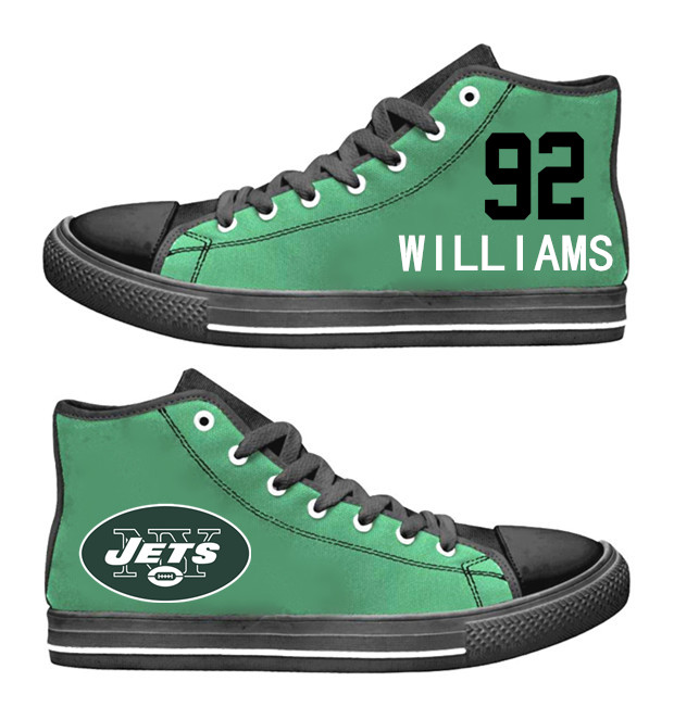 NFL New York Jets 92#  Leonard Williams black Green  Hand Painted Unisex Custom Centre-TOP Canvas Shoes