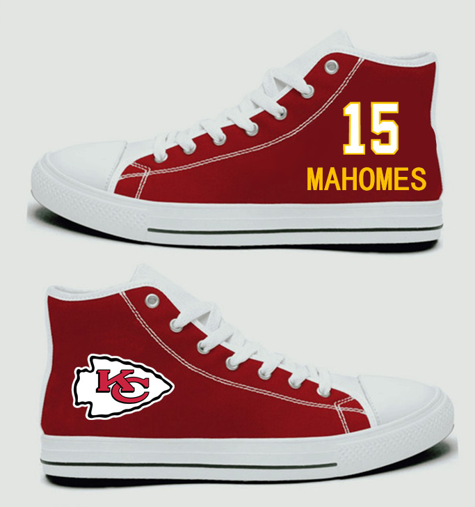 NFL Kansas City Chiefs 15#  Patrick Mahomes II  Red Hand Painted Unisex Custom Centre-TOP Canvas Shoes
