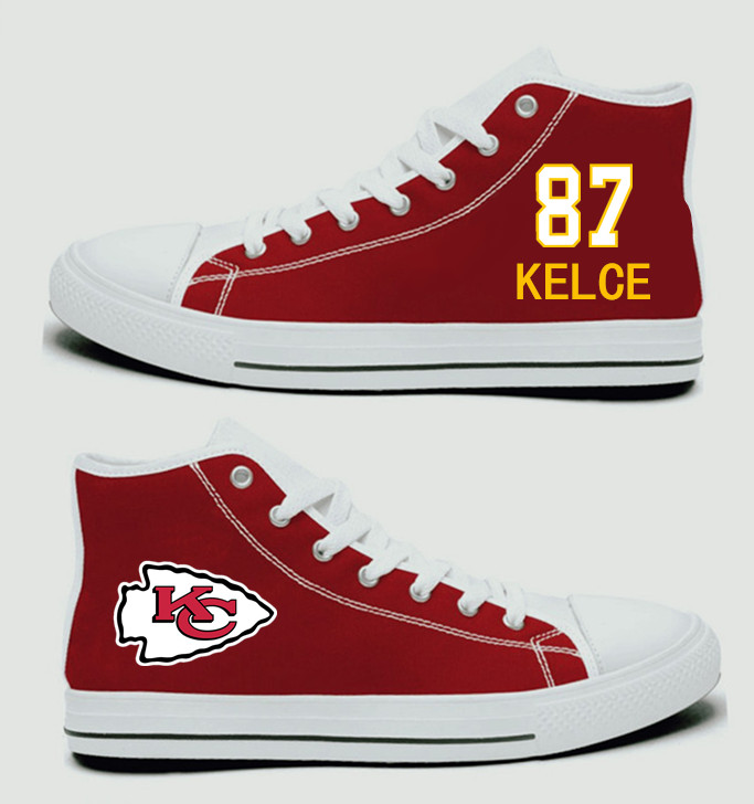 NFL Kansas City Chiefs 87#  Travis Kelce  Red Hand Painted Unisex Custom Centre-TOP Canvas Shoes