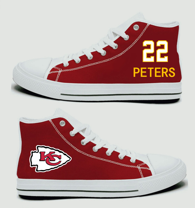 NFL Kansas City Chiefs 22#  Marcus Peters Red Hand Painted Unisex Custom Centre-TOP Canvas Shoes