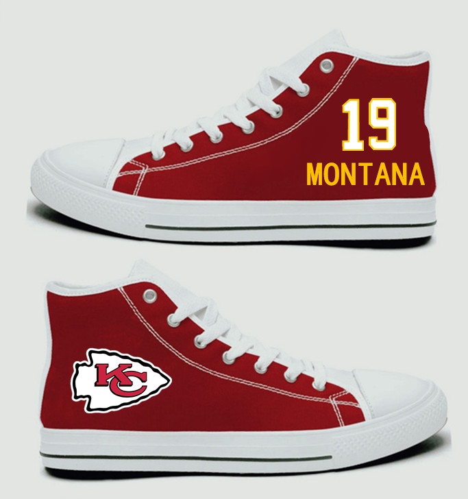 NFL Kansas City Chiefs 19#   Joe Montana  Red Hand Painted Unisex Custom Centre-TOP Canvas Shoes