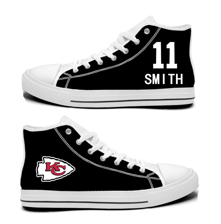 NFL Kansas City Chiefs 11#  Alex Smith  blackHand Painted Unisex Custom Centre-TOP Canvas Shoes
