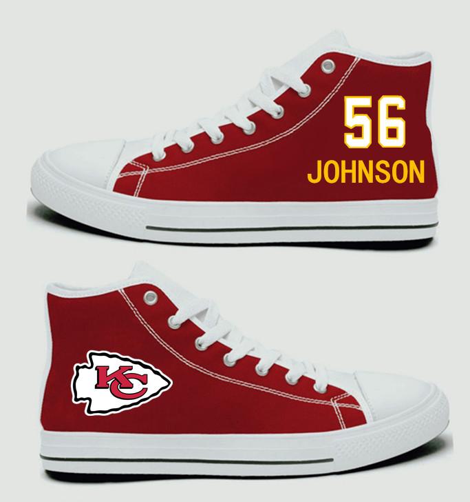 NFL Kansas City Chiefs 56# Derrick Johnson Red Hand Painted Unisex Custom Centre-TOP Canvas Shoes