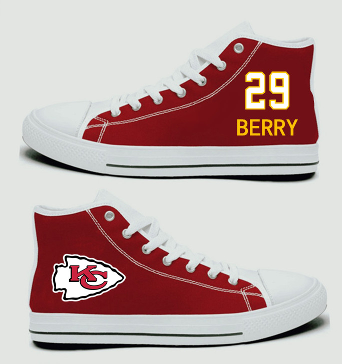 NFL Kansas City Chiefs 29# Eric Berry Red Hand Painted Unisex Custom Centre-TOP Canvas Shoes