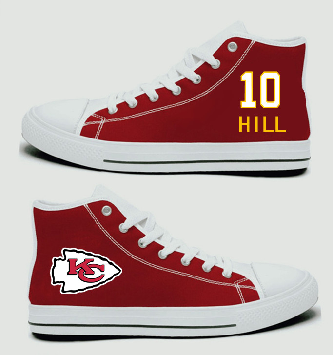 NFL Kansas City Chiefs 10#  Tyreek Hill  Red Hand Painted Unisex Custom Centre-TOP Canvas Shoes