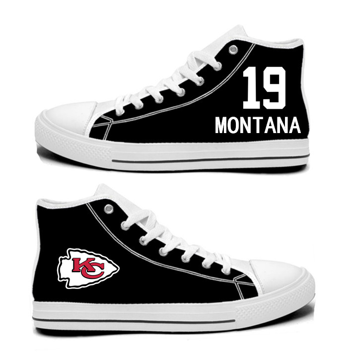 NFL Kansas City Chiefs 19#   Joe Montana  black Hand Painted Unisex Custom Centre-TOP Canvas Shoes