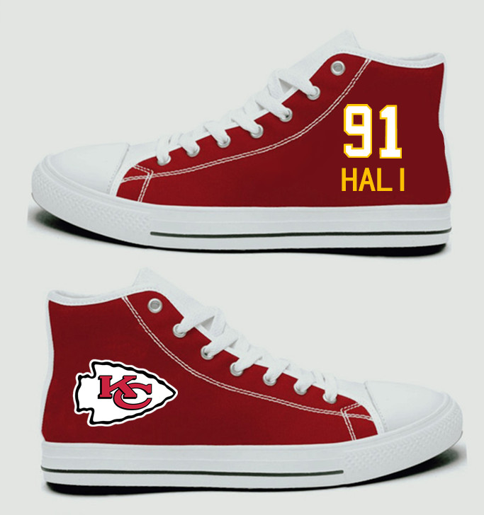 NFL Kansas City Chiefs 91#  Tamba Hali  Red Hand Painted Unisex Custom Centre-TOP Canvas Shoes