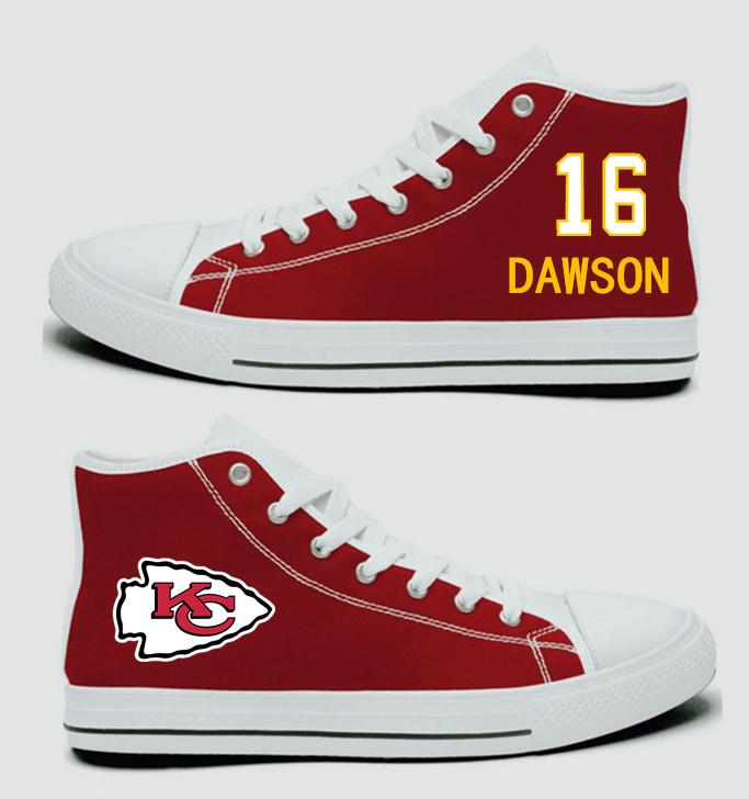 NFL Kansas City Chiefs 16# Len Dawson Red Hand Painted Unisex Custom Centre-TOP Canvas Shoes