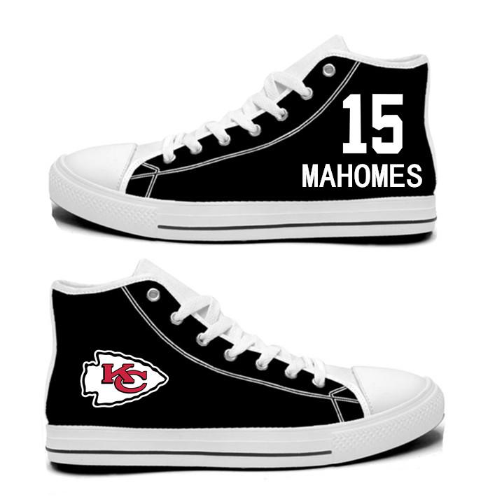 NFL Kansas City Chiefs 15#  Patrick Mahomes II  black Hand Painted Unisex Custom Centre-TOP Canvas Shoes
