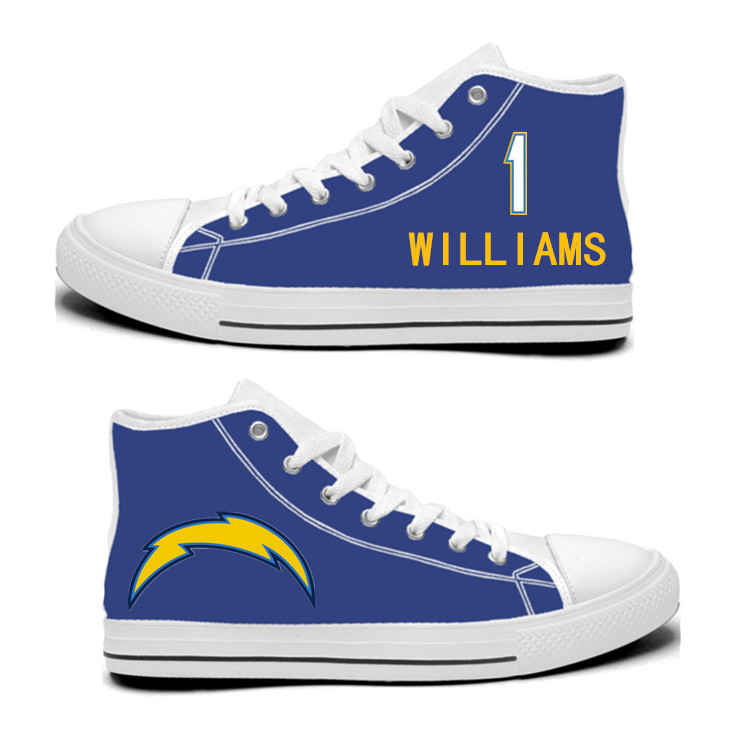NFL Los Angeles Chargers 1# Mike Williams  Royal Color Hand Painted Unisex Custom Centre-TOP Canvas Shoes