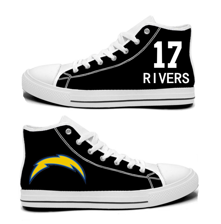 NFL Los Angeles Chargers 17#  Philip Rivers  black Hand Painted Unisex Custom Centre-TOP Canvas Shoes