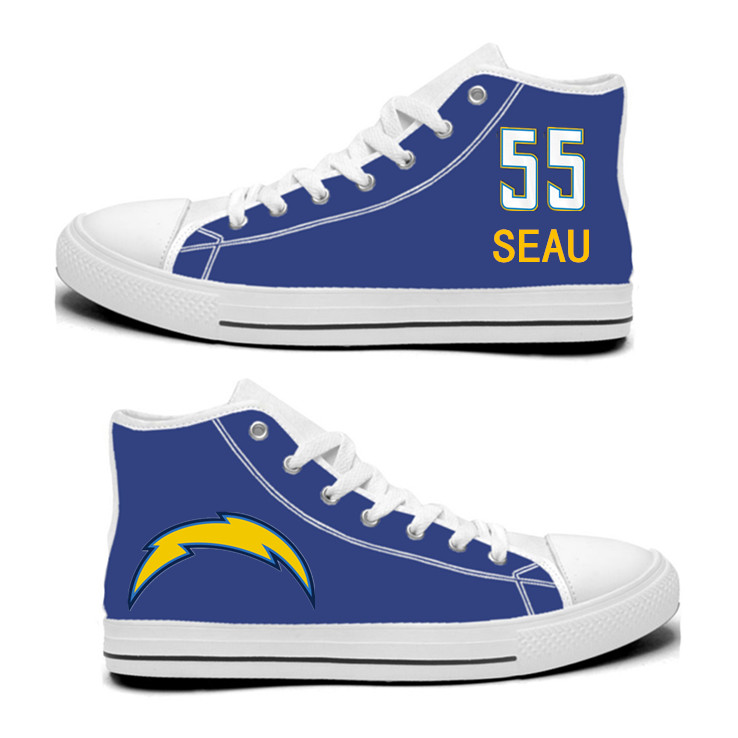 NFL Los Angeles Chargers 55#  Junior Seau Royal Color Hand Painted Unisex Custom Centre-TOP Canvas Shoes