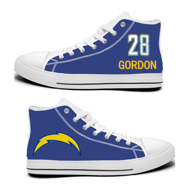 NFL Los Angeles Chargers 28#  Melvin Gordon  Royal Color Hand Painted Unisex Custom Centre-TOP Canvas Shoes