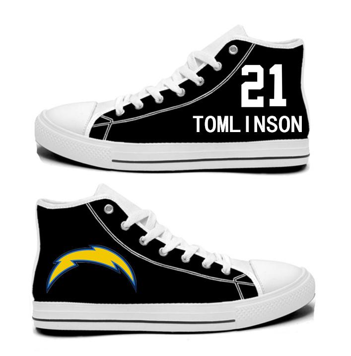 NFL Los Angeles Chargers 21#  LaDainian Tomlinson black Hand Painted Unisex Custom Centre-TOP Canvas Shoes
