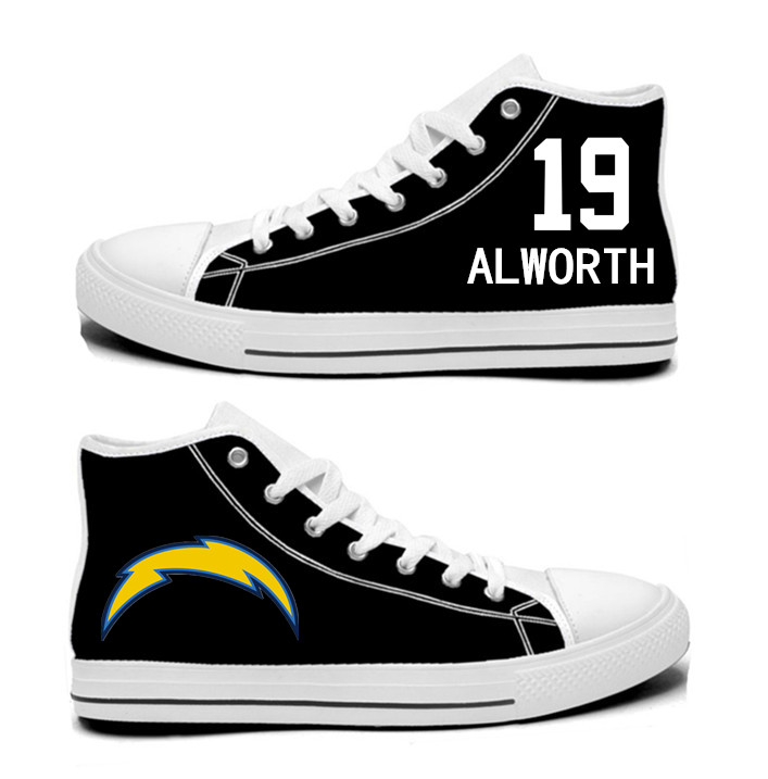 NFL Los Angeles Chargers 19# Lance Alworth black Hand Painted Unisex Custom Centre-TOP Canvas Shoes