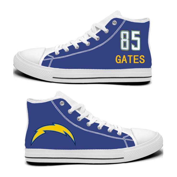 NFL Los Angeles Chargers 85# Antonio Gates Royal Color Hand Painted Unisex Custom Centre-TOP Canvas Shoes