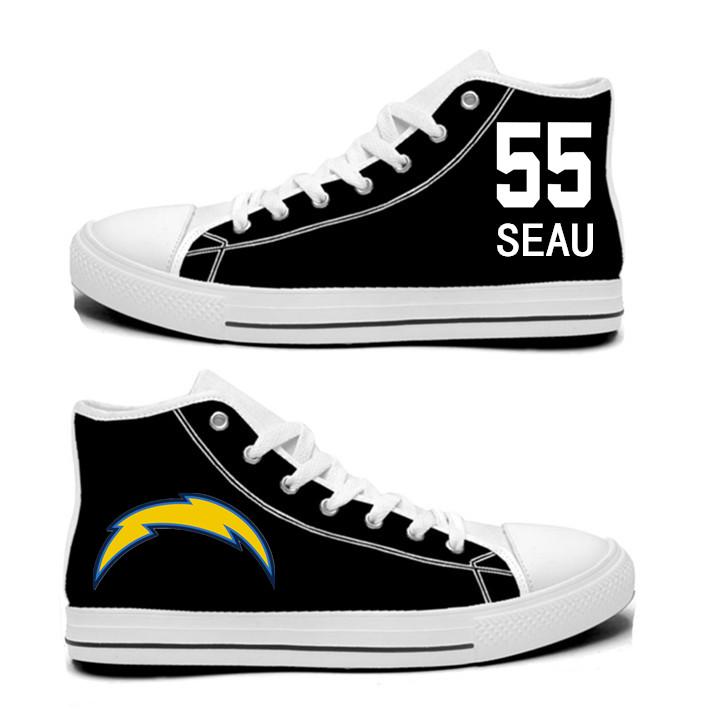 NFL Los Angeles Chargers 55#  Junior Seau black Hand Painted Unisex Custom Centre-TOP Canvas Shoes