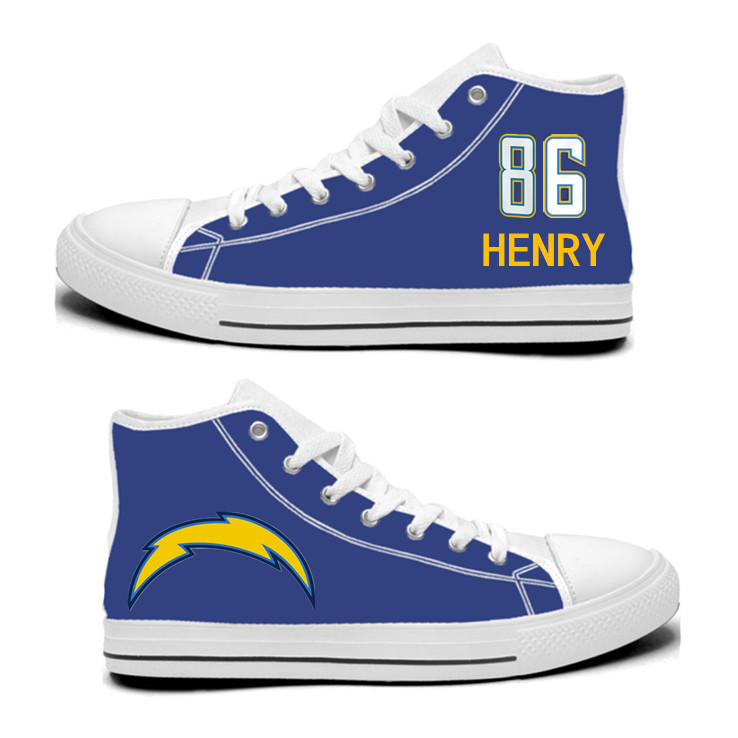 NFL Los Angeles Chargers 86# Hunter Henry Royal Color Hand Painted Unisex Custom Centre-TOP Canvas Shoes