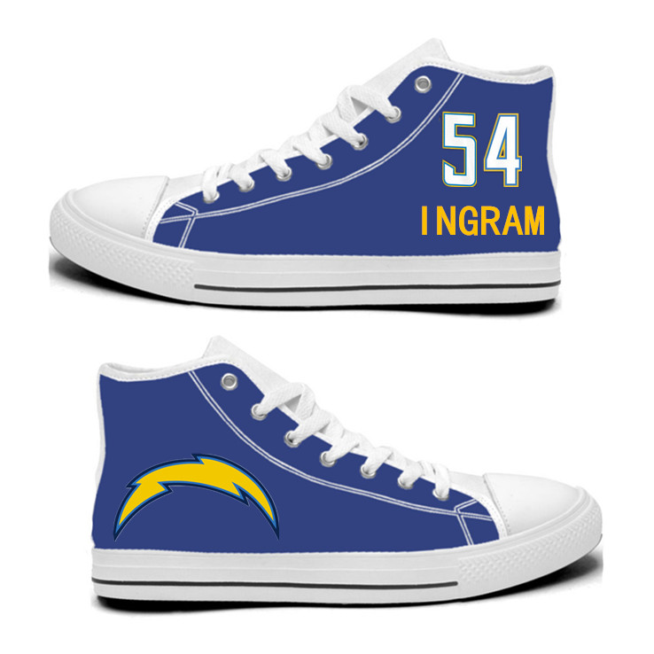 NFL Los Angeles Chargers 54# Melvin Ingram Royal Color Hand Painted Unisex Custom Centre-TOP Canvas Shoes