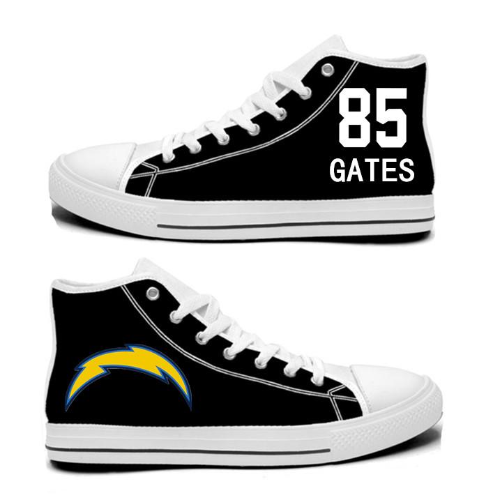 NFL Los Angeles Chargers 85# Antonio Gates black Hand Painted Unisex Custom Centre-TOP Canvas Shoes