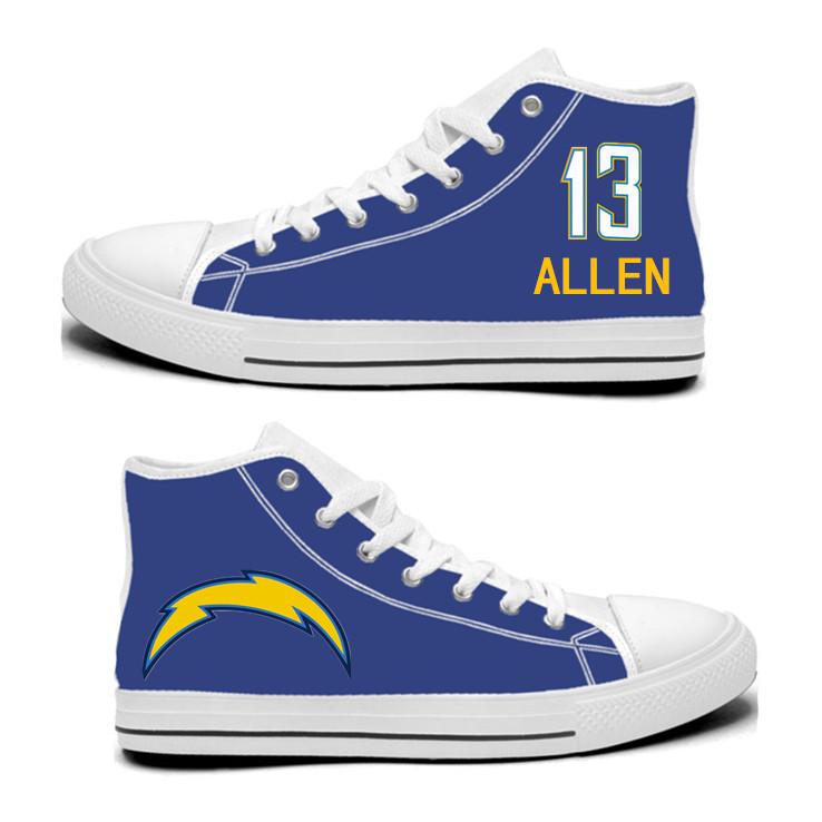 NFL Los Angeles Chargers 13# Keenan Allen Royal Color Hand Painted Unisex Custom Centre-TOP Canvas Shoes