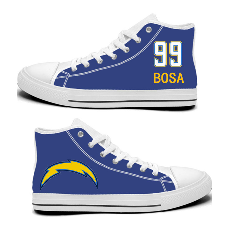 NFL Los Angeles Chargers 99# Joey Bosa Royal Color Hand Painted Unisex Custom Centre-TOP Canvas Shoes