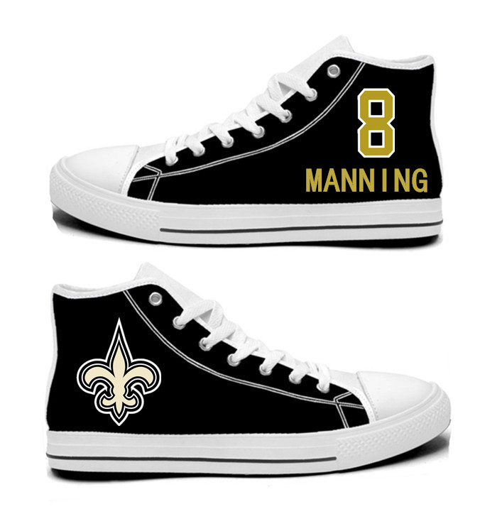 NFL New Orleans Saints 8#   Archie Manning   Black Hand Painted Unisex Custom Centre-TOP Canvas Shoes